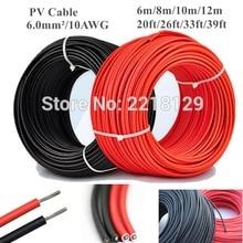 6 м/8 м/10 м/12 м 20 футов/26 футов/33 фута/39 футов 6,0 мм/10AWG черный+ красный Соединительный кабель для солнечных батарей провод для солнечной панели модуль TUV одобрение питания PV
