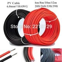 6 m/8 m/10 m/12 m 20ft/26ft/33ft/39ft 6.0mm /10AWG siyah + kırmızı güneş konektörü kablo tel için güneş paneli modülü TUV onayı güç PV