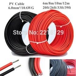 6 m/8 m/10 m/12 m 20ft/26ft/33ft/39ft 6.0mm/10awg preto + fio de cabo solar vermelho do conector para a aprovação do módulo do painel solar tuv power pv