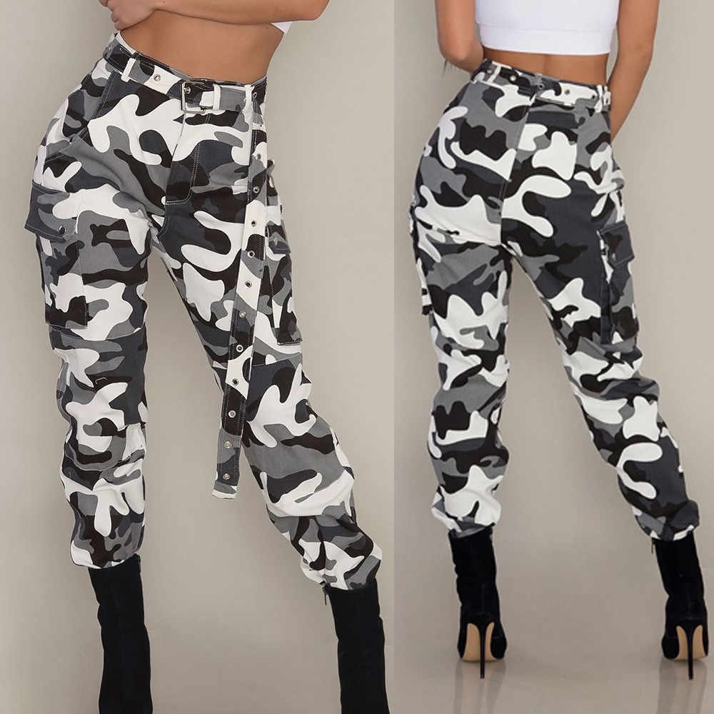 Vrouwen Camo Cargo Broek Harajuku Lady Casual Broek Streetwear Kleding Hoge Taille Jeans Potlood Broek Zonder Zakken # F5