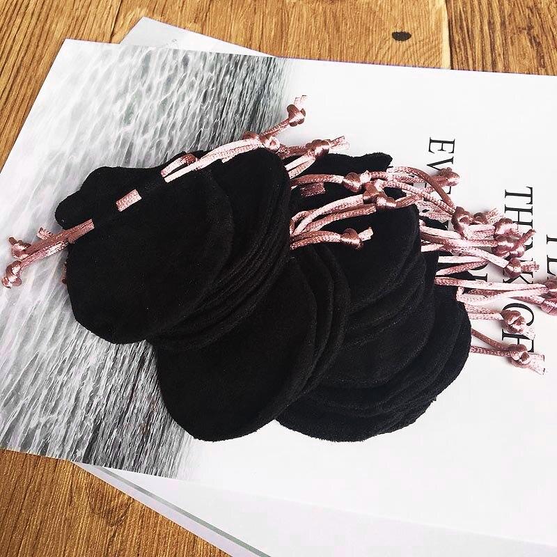 50pcs/lot Pink Ribbon Flannel Bag Pouch For Bead Charm Bracelet Women Original Pandora Jewelry Black Bags Outer Packaging