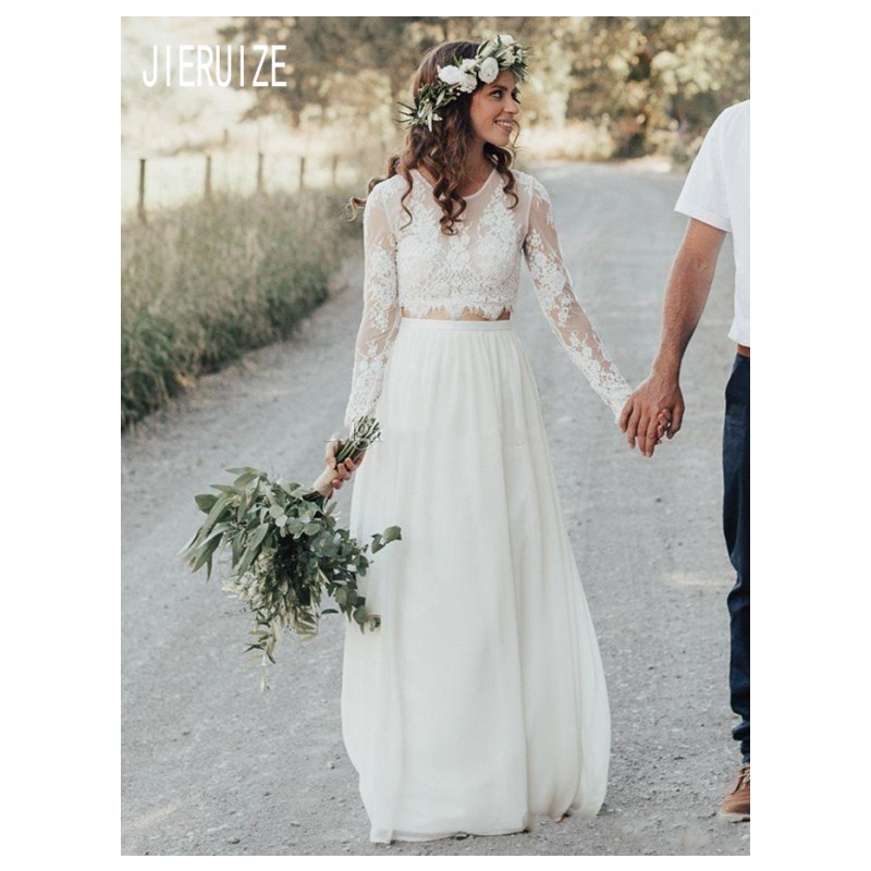 JIERUIZE Country Boho Wedding Dresses Sheer Jewel Neck Long Sleeves Button Back Chiffon Two Pieces Bridal Gowns Vestido De Noiva