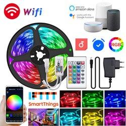 5-30 м Светодиодная лента 5050 Rgb гибкая светодиодная фоновая лента 12 в Bluetooth Wi-Fi пульт дистанционного управления лампа украшение для стены спал...