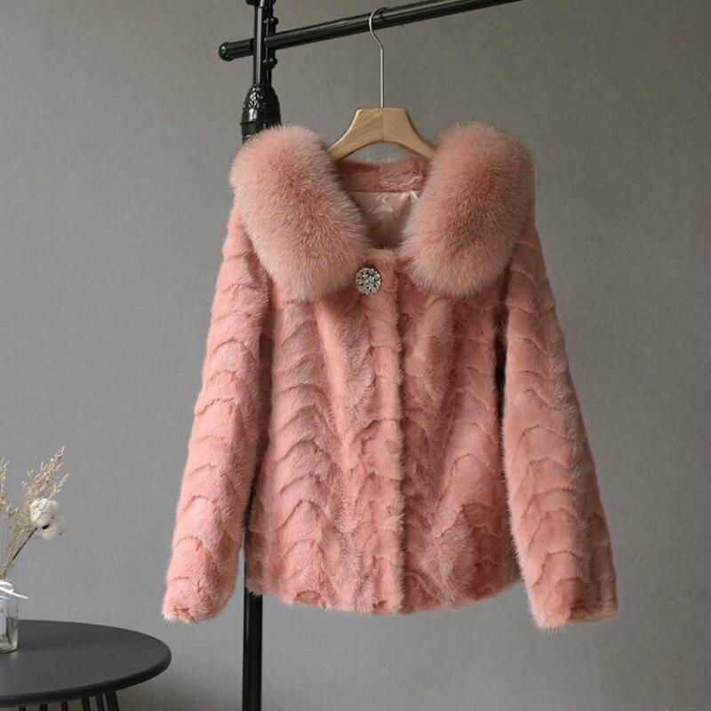 Vintage Real Mink Fur Coat Female Winter Clothes 2020 Korean Elegant Real Fox Fur Collar Fur Coat Fashion Warm Jacket Hiver 1627