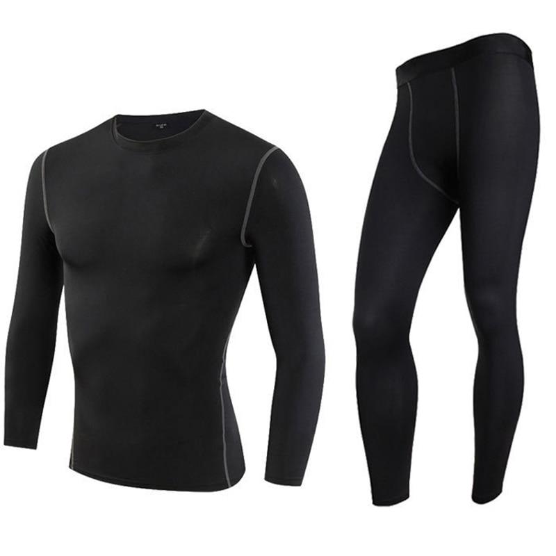 Men's Thermal Sport Underwear Set Motorcycle 4 Seasons Skiing Warm Base Layers Sportwear Tight Long Shirt & Tops Set Clothing