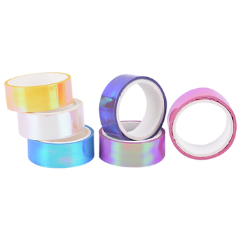 1pc 1.5*500cm Rhythmic Gymnastics Decoration Holographic Prismatic Glitter Tape Hoops Stick Gradient Tape Gymnastic Accessories image