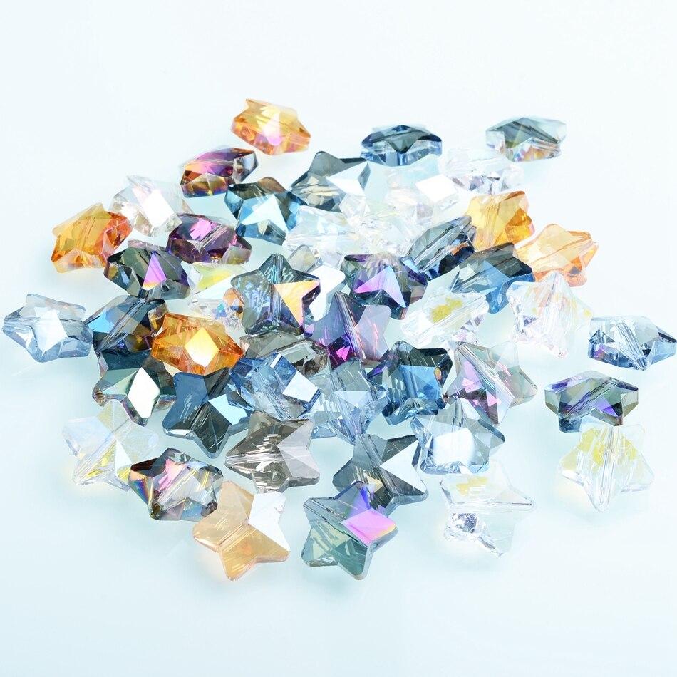Cinco estrelas forma contas fábrica 14mm contas de cristal multicolorido atacado facetado contas para acessórios colar