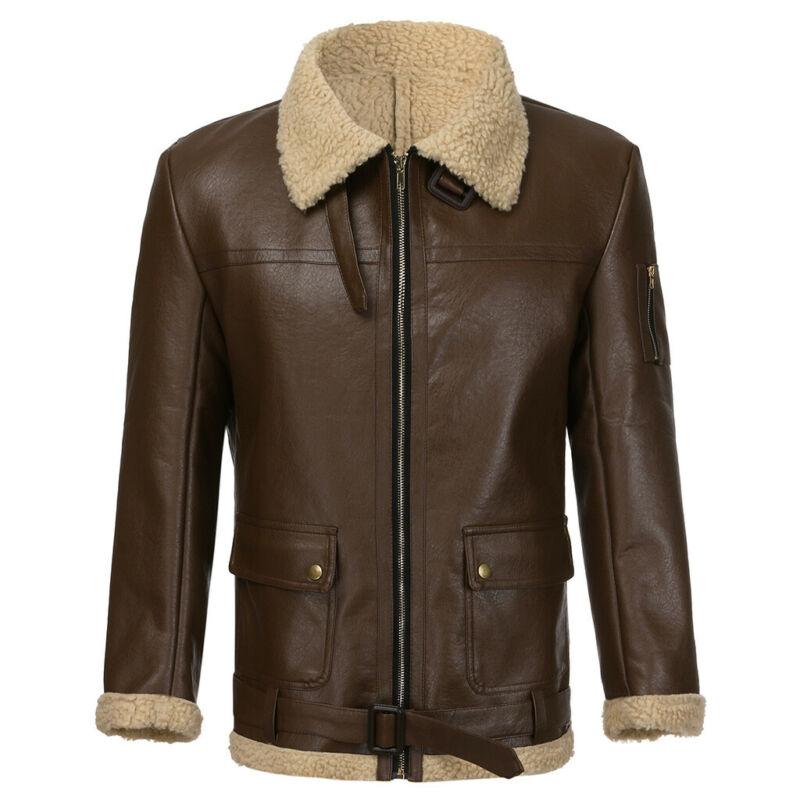 2020 Winter Vintage Moto Bomber Jackets Men Turtleneck Faux Leather Zipper Outwear Coat Male Streetwear Warm Teddy Bear Men Coat