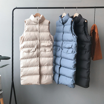 2020 Women Spring Vest Coat Stand Collar Women Long Vest Warm Women Tops Vest Chaleco Mujer Gilet Casaco Feminino