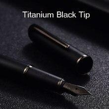 Picasso espinha fonte de metal, caneta fonte de metal preta de titânio ef/m/dobrada 0.38/0.6/1.0mm barril fosco opção de caixa de presente conjunto de caneta de negócios