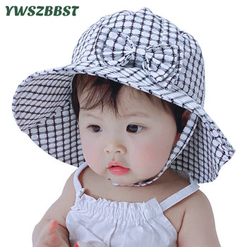 цена на Baby Hat with Bowknot Summer Sun Hat Autumn Baby Hats for Girls Kids Child Beach Sun Cap