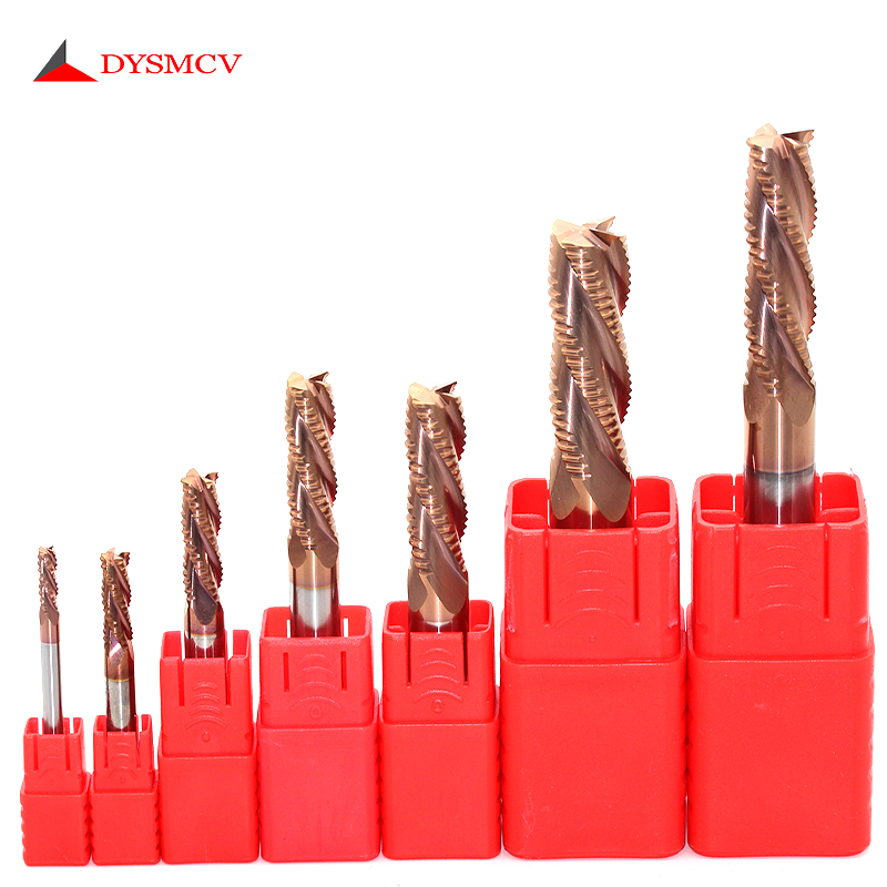 1pcs HRC58  4mm 6mm 8mm Carbide Roughing Endmill Milling Cutter 4Flutes Lathe End Mill Cutter Tool for Steel Aluminum Roughing