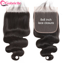 Gabrielle 8x8 Lace Closure Brazilian Body Wave Human Hair Closure with Baby Hair Natural Color Remy Hair 8 by 8 Closure(China)