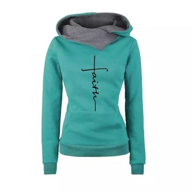Autumn Winter Hoodies Sweatshirts Women Faith Embroidered Sweatshirt Long Sleeve Pullovers Christmas Casual Warm Hooded Tops 4