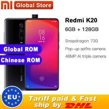 """글로벌 rom xiaomi redmi k20 6 gb 128 gb 모바일 폰 금어초 730 48mp 후면 카메라 팝업 전면 카메라 4000 mah 6.39 """"amoled"""