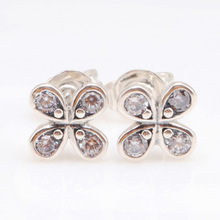 Original 925 Sterling Silver Creative Pure Lucky Four Leaf Grass Earrings Pan Earring Flower Elegant