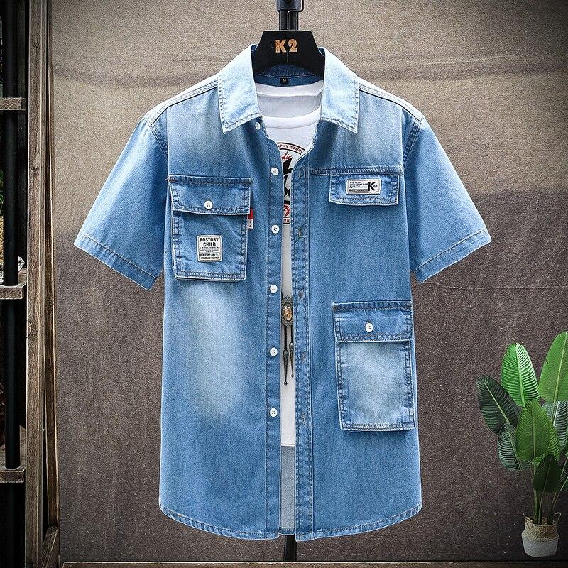Denim Shirt Men Cotton Jeans Shirt Fashion summer Slim Short Sleeve Cowboy Shirt Stylish Wash Slim Tops Asian Multiple pockets