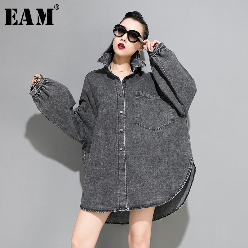 [EAM] Loose Fit Split Big Size Oversized Denim Jacket New Lapel Long Sleeve Women Coat Fashion Tide Spring Autumn 2020 1A318