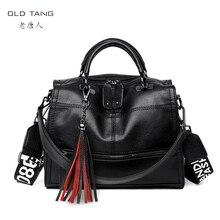 OLD TANG Messenger Bag 여성 정품 가죽 여성용 어깨 가방 여성용 크로스 바디 백 2019 Tassel Letter Solid Handbag