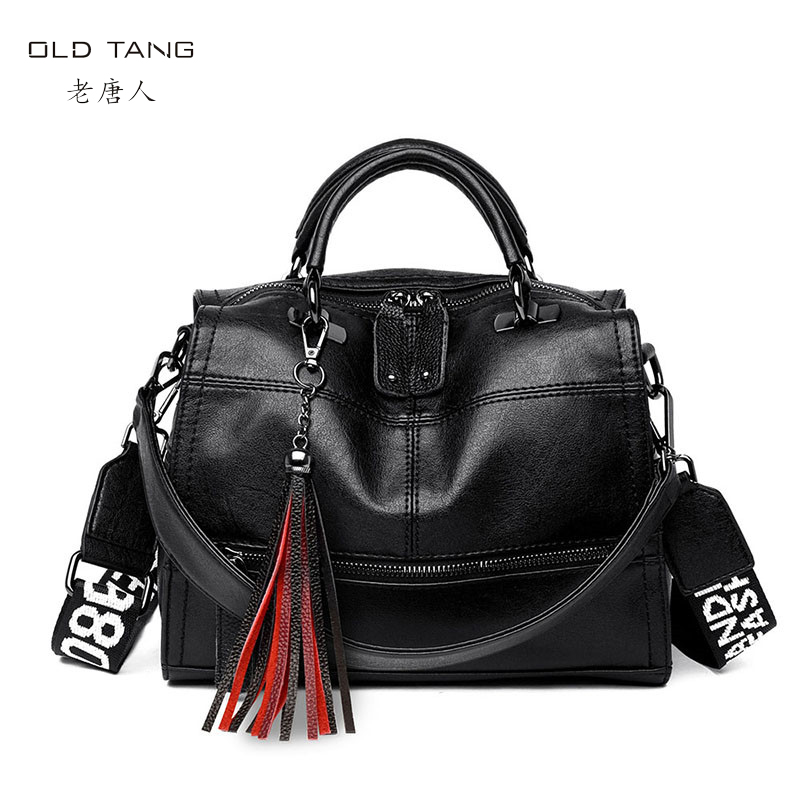 OLD TANG Messenger Bag Women Genuine Leather Women's Shoulder Bags Crossbody Bags For Women 2019 Tassel Letter Solid Handbag