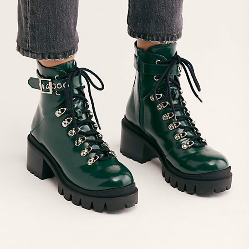 Spring and autumn Women 39 s ankle Boots waterproof thick platform square heel lace up short tube womens shoes Yasilaiya in Ankle Boots from Shoes
