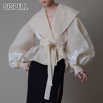 SISPELL Lantern Sleeve For Female Blouse Shirts Lapel Collar Lace Up Bowknot High Waist Slim Embroidery Women's Vintage Shirt lace applique lantern sleeve cold shoulder top