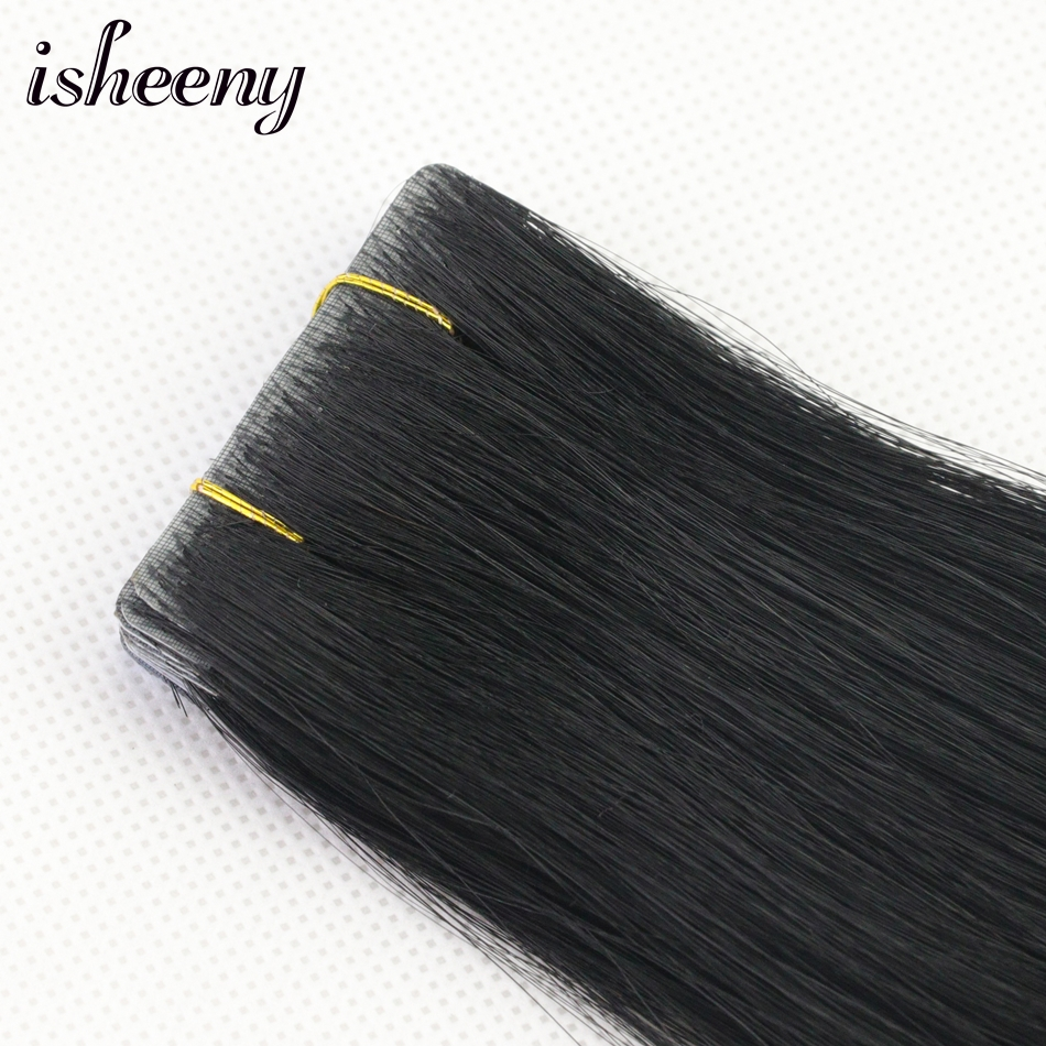 Isheeny Invisible Tape Human Hair Extensions European PU Tape 2.5g Bonde In 18