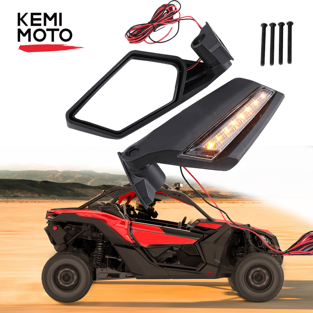 KEMIMOTO UTV For Can-Am Maverick X3 Can Am X3 Canam 2017 2018 2019 Rear View Side Racing Mirrors W/ Amber LED Light  Rearview