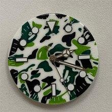 Wymiana 29mm zegarek wybierania dla NH35 NH36 8215 8200 821A dla Mingzhu 2813 zegarek z czujnikiem ruchu zielony Luminous kamuflaż zegarek wybierania
