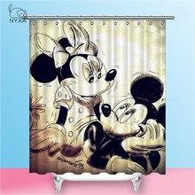 NYAA Mickey duş perdeleri su geçirmez Polyester kumaş banyo perdeleri ev dekor için