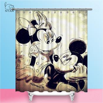 NYAA Mickey zasłony prysznicowe wodoodporna tkanina poliestrowa zasłony łazienkowe do wystroju domu tanie i dobre opinie Portret Amerykański styl Poliester Ekologiczne Zaopatrzony Thermal Transfer Printer Shower Curtains Selectable or Customized