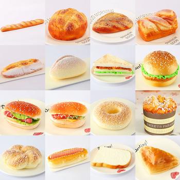 Fałszywy chleb Hamburger symulacja do dekoracji tortu ściśnij dekorację strona główna miękka dekoracyjna witryna fotografia rekwizyty zabawka kuchenna tanie i dobre opinie 1 pc Ciasto
