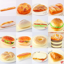 Fake bread Hamburger Simulation Decor Cake Squeeze Decoration home soft decorative window display  photography props Kitchen Toy