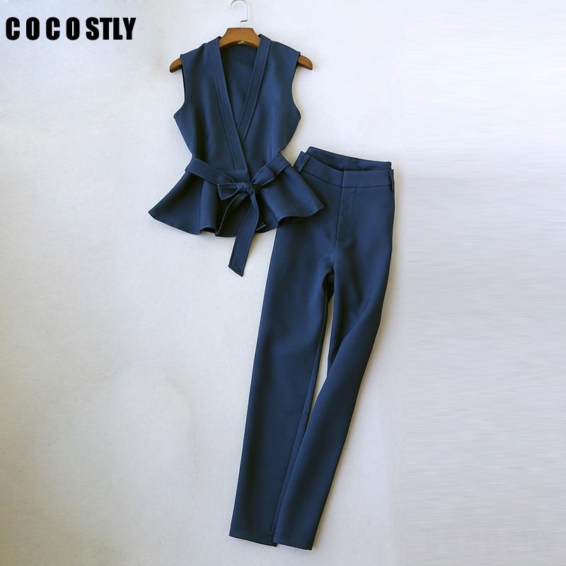 autumn pant suits women's temperament sleeveless vest fashion suit vest office lady wide-leg pants Two-piece suit women clothing