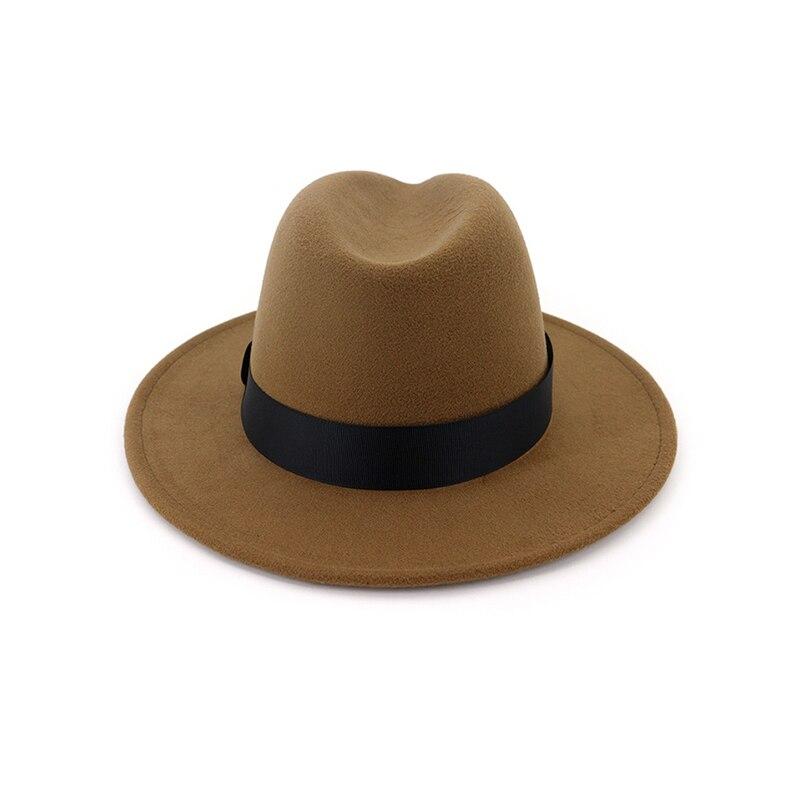 New Vintage Fedora Men Wool Wide Brim Top Hat Witner Autumn for Woman Chapeau Black Church Hat Bowler Ladies women's Jazz Hats 5