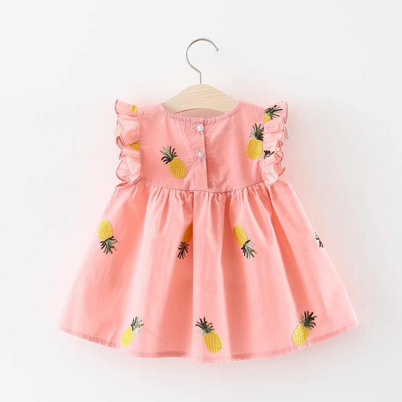 ベビー服夏ベビードレスフリルスリーブ新生児ドレス綿パイナップルノースリーブ幼児ドレス