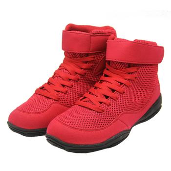 Profesjonalne męskie bokserskie buty zapaśnicze sznurowane treningowe buty bojowe męskie gumowa podeszwa oddychające buty bojowe tanie i dobre opinie Średnie (b m) RUBBER Zaawansowane Spring2019 Pasuje prawda na wymiar weź swój normalny rozmiar Lace-up SJ0023 Mesh (air mesh)