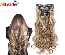 Alileader Synthetic Hair 16 Clip In Hair Extension Clip For Women 6Pcs/Set Hair Extension Clip In Ombre Fake Hairpiece Long Wavy