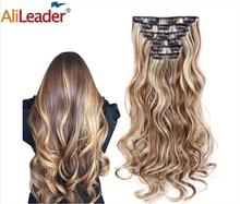 Alileader синтетические волосы 16 заколок для наращивания волос для женщин 6 шт./компл. заколка для наращивания волос с эффектом омбре длинные вол...
