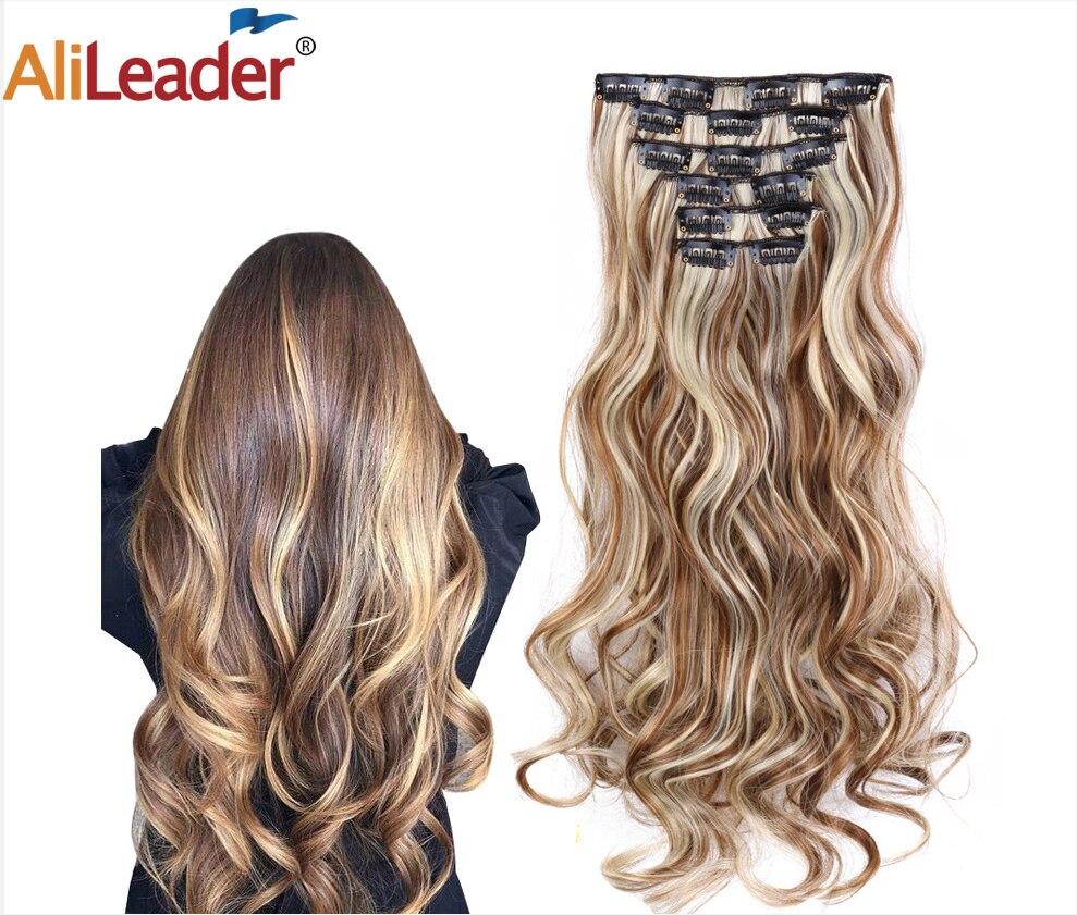 Alileader pelo sintético 16 Clip en Clip de extensión de cabello para mujer 6 unids/set Clip de extensión de cabello en Ombre peluquín falso largo ondulado