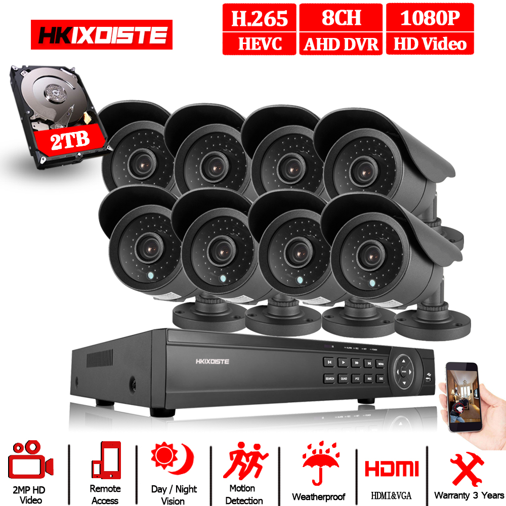 New Super Full HD 8CH AHD 2MP Home Outdoor CCTV Camera System 8 Channel video Surveillance security camera kit 8ch 1080P AHD DVR-in Surveillance System from Security & Protection