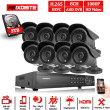 Novo super completo hd 8ch ahd 2mp casa ao ar livre cctv sistema de câmera 8 canais kit câmera de segurança vigilância vídeo 8ch 1080 p ahd dvr