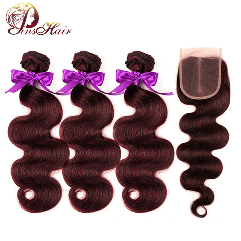 Pinshair Body Wave Burgundy Bundles With Closure Brazilian Hair Weave 3 Bundles With Closure Non-Remy Human Hair Weft Extensions