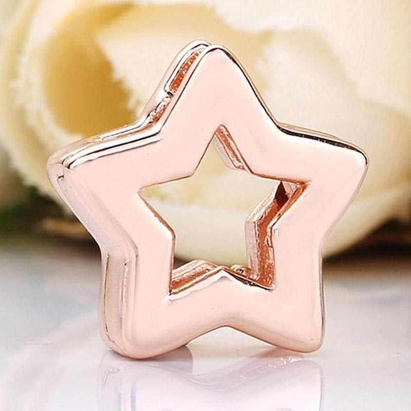 Oryginalne różowe złoto refleksje gwiazda klip korek blokady koraliki Fit 925 Sterling Silver Charm bransoletka pandora bransoletka biżuteria zrób to sam