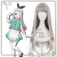 New Japan Anime Blend S Kanzaki Hideri Long grey hair Cosplay Wig +Free Cap Cosplay Costume Accessories