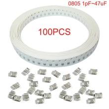 100pcs SMD Ceramic Capacitor 100nF X7R Error 10% 50V 0805 0.1UF 104 1pF ~ 47uF Thick Film Chip Multilayer