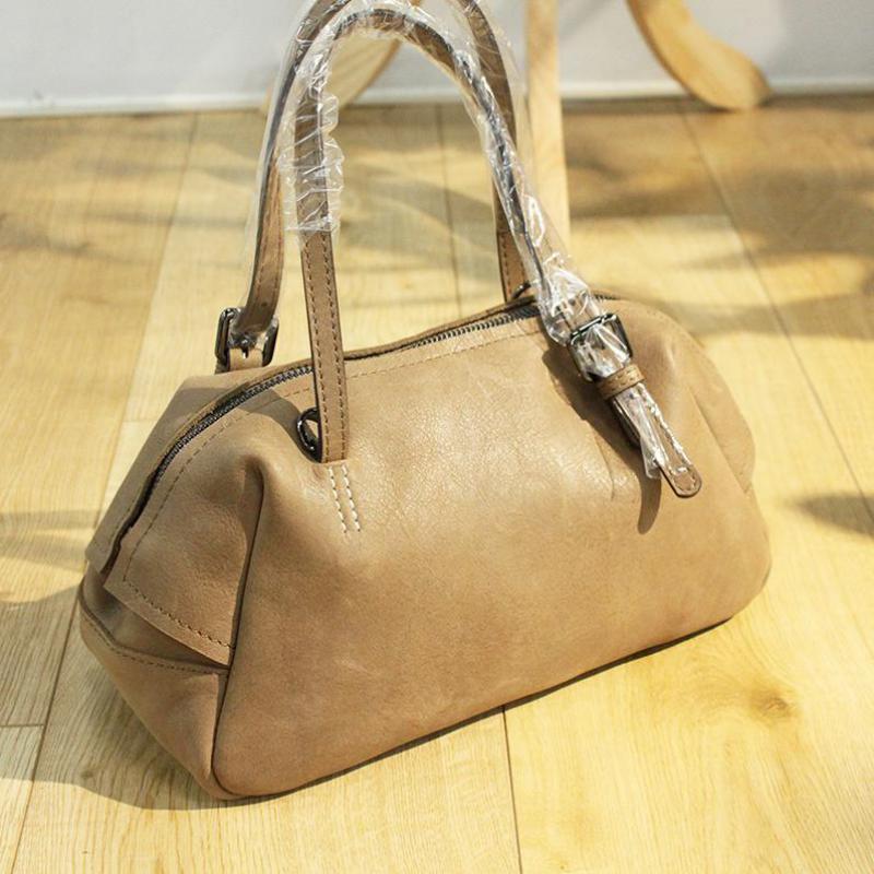 Solid Vintage Genuine Leather Women Shoulder Bags Small Lady Handbag Brand Designer Cow Leather Crossbody Bags Female Totes Bag