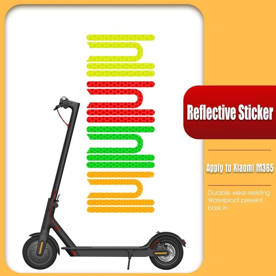 Reflective Stickers for Electric Scooter Waterproof Night Reflective Film Sticker Fluorescent Scooter Motorcycle Fluorescent Decal Pedal Stickers Accessories for XIAOMI M365 Ninebot ES1 ES2 ES3 ES4