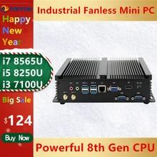 2020 Industrial Fanless Mini PC Windows 10 Pro i7 8565U i5 8265U i3 7100U 1*Lan 2*RS232 7*USB WiFi HDMI Linux Desktop Computer