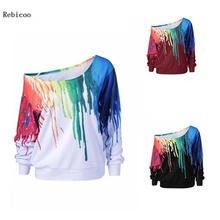 Fashion Women Simple Casual Loose Rainbow Print Sweatshirt Long Sleeve Comfortable Soft Pullover Blouse Sweatshirt loose fit random lip print pullover sweatshirt for fall